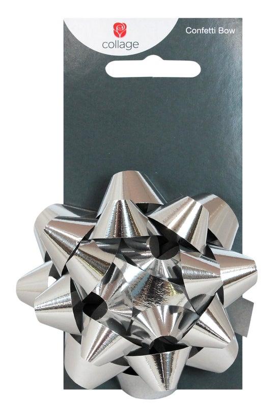 Collage Confetti Bow Silver