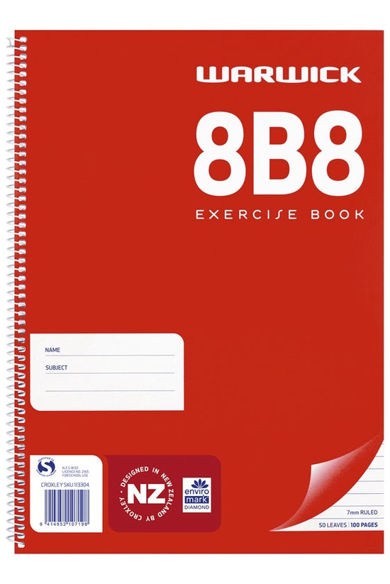 Warwick 8b8 Notebook Spiral 29...