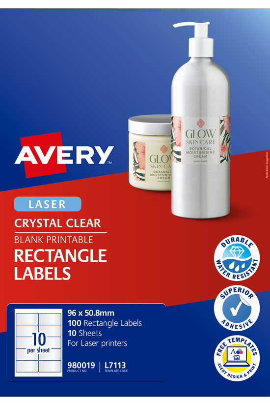 Avery Crystal Clear Labels 96m...