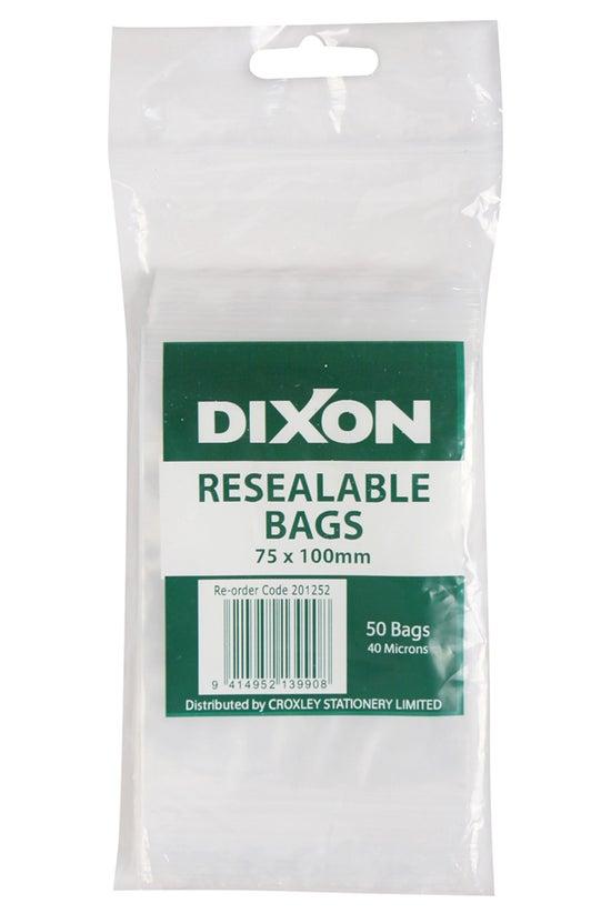 Dixon Resealable Bags 75x100mm...