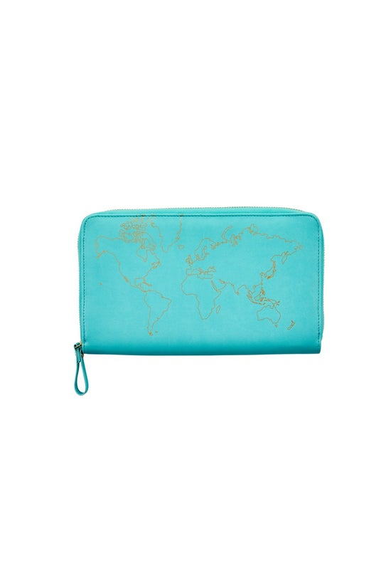 Travel Wallet Gold Map Mint