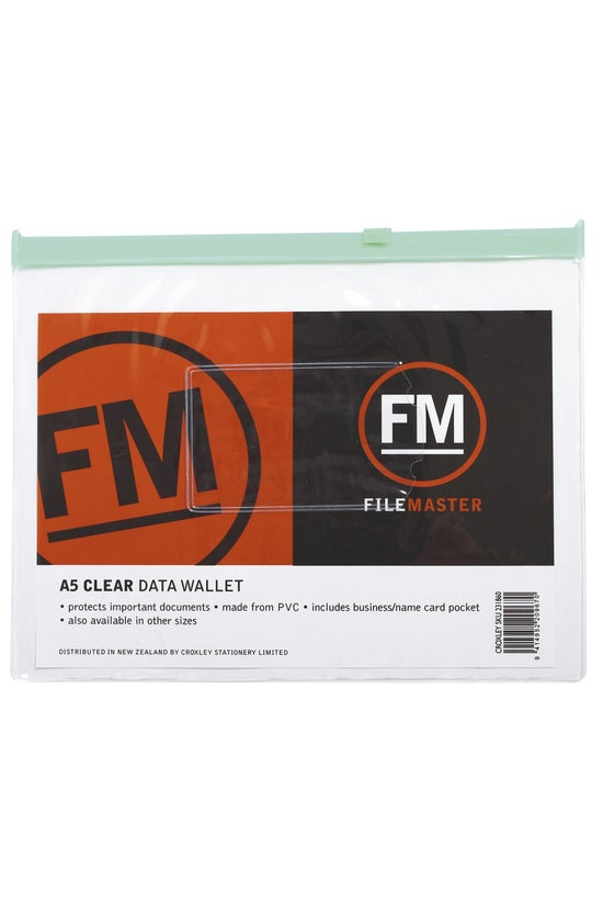 Fm Data Wallet With Zip Pvc A5...