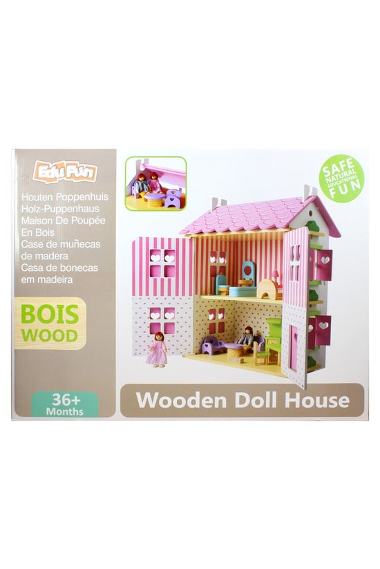 Wooden Dollhouse With 13 Piece...