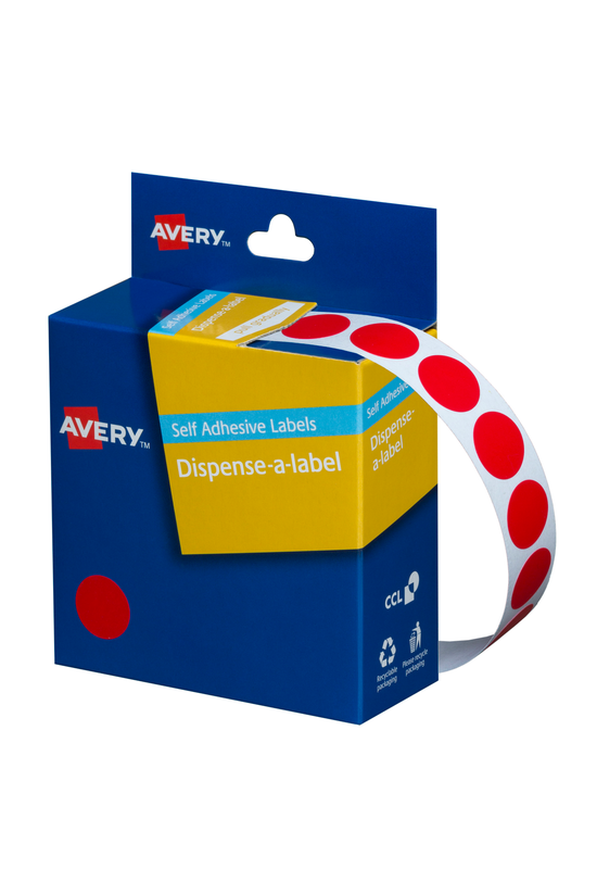 Avery Round Labels Red 14mm Bo...