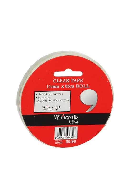 Whitcoulls Clear Tape 15mm X 6...