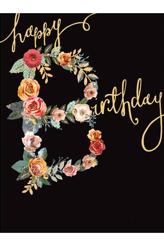 Birthday Card Floral Black