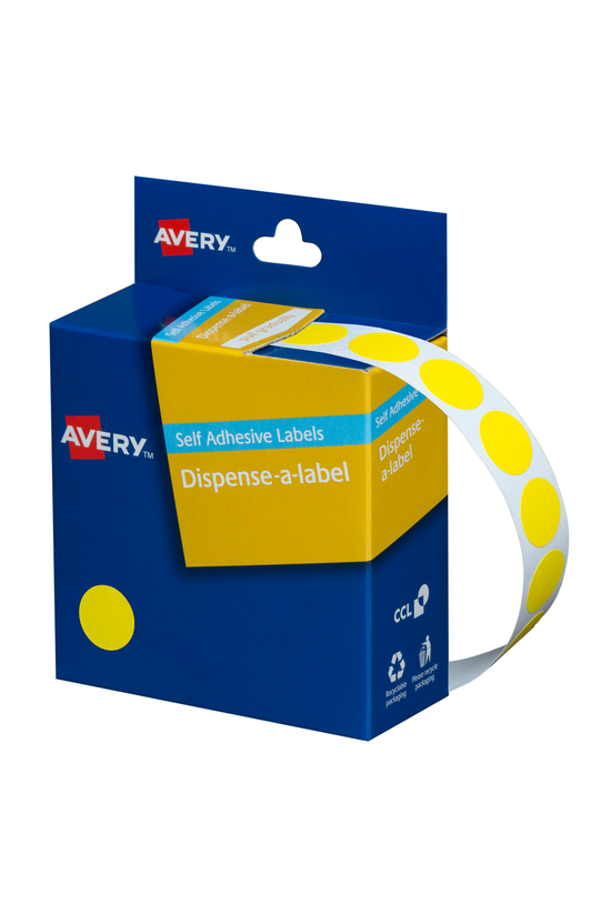 Avery Round Labels Yellow 14mm...