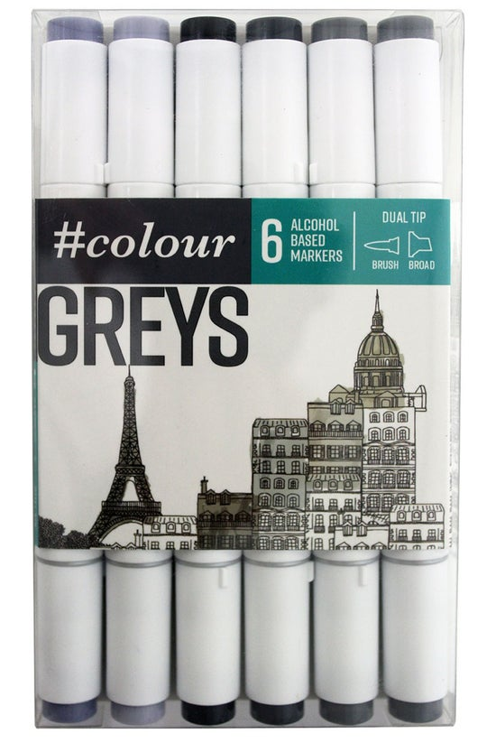 #colour Markers Grey Pack Of 6