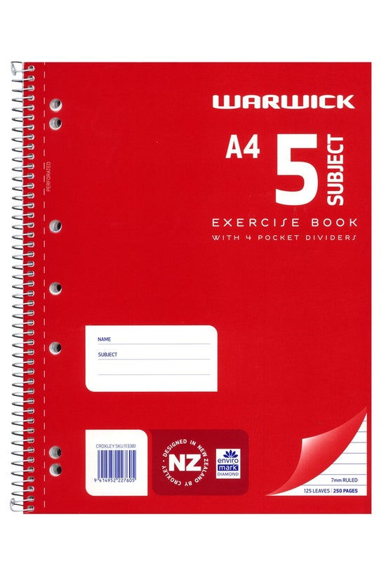 Warwick Exercise Book A4 5 Sub...