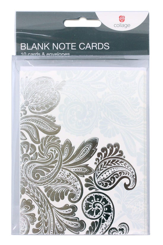 Collage Blank Note Cards Silve...