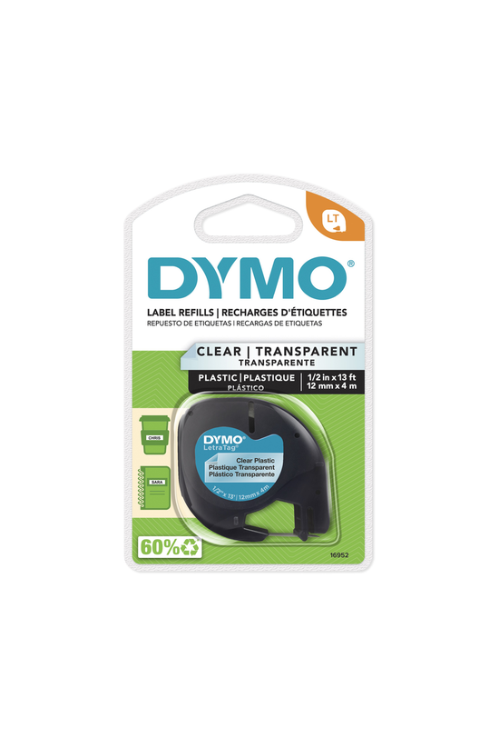 Dymo Letratag Tape Black On Cl...