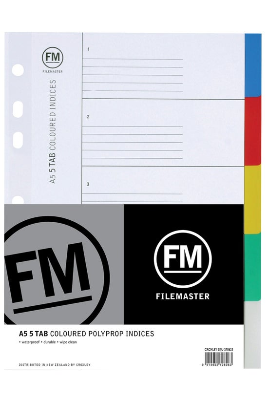 Fm Coloured Indices A5 5tab Po...