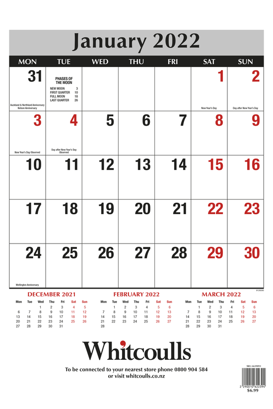 Whitcoulls 2022 Wall Calendar ...
